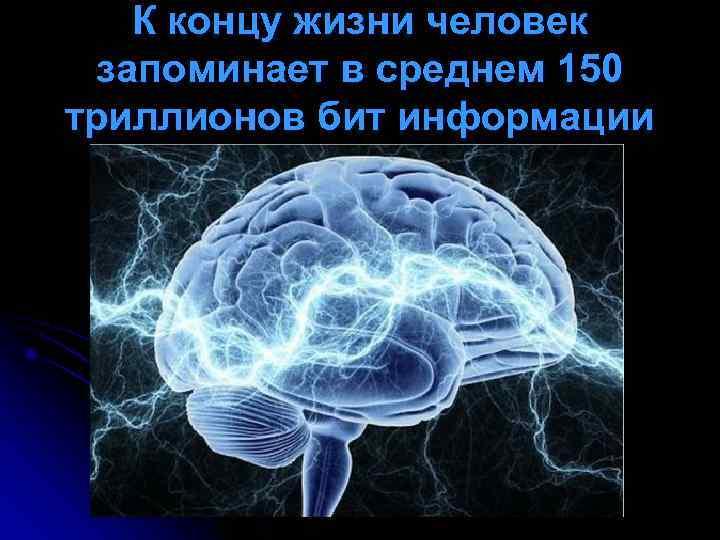 К концу жизни человек запоминает в среднем 150 триллионов бит информации