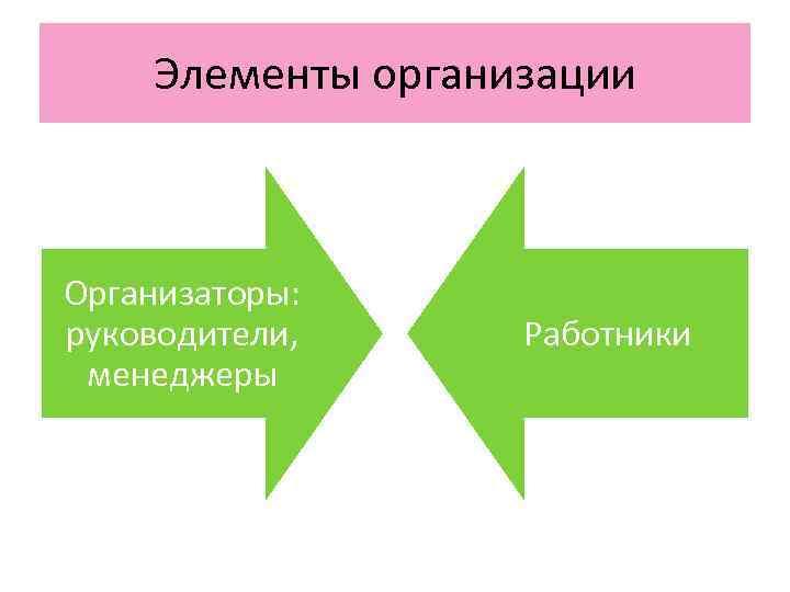Элементы организации  Организаторы: руководители,  Работники менеджеры