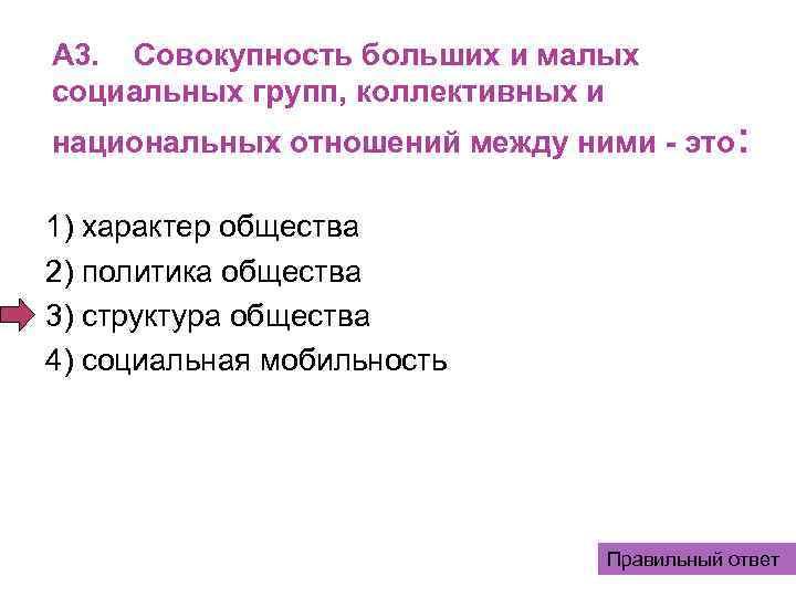 A 3. Совокупность больших и малых социальных групп, коллективных и национальных отношений между ними