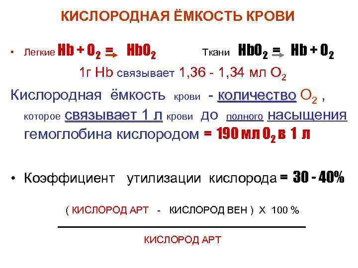 КИСЛОРОДНАЯ ЁМКОСТЬ КРОВИ  • Легкие Hb + O 2  =