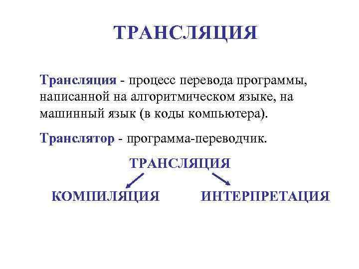 ТРАНСЛЯЦИЯ Трансляция - процесс перевода программы,  написанной на алгоритмическом языке, на