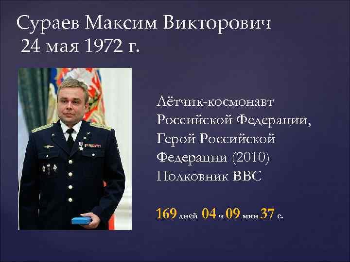 Сураев Максим Викторович  24 мая 1972 г.    Лётчик-космонавт