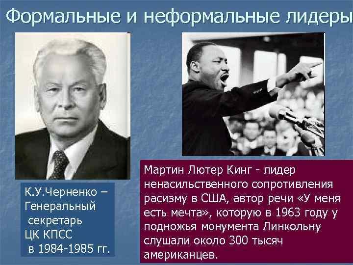 Формальные и неформальные лидеры     Мартин Лютер Кинг - лидер