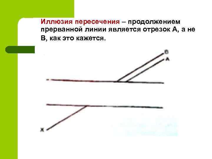 Иллюзия пересечения – продолжением прерванной линии является отрезок А, а не В, как это