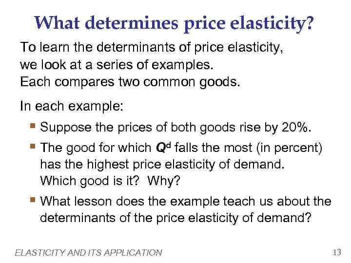 determinants of price elasticity of demand with examples pdf
