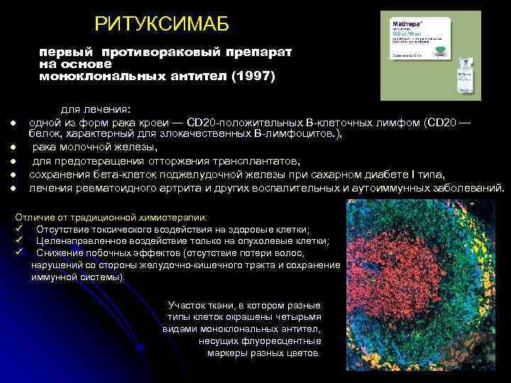 РИТУКСИМАБ первый противораковый препарат на основе моноклональных антител (1997) l l l для лечения: