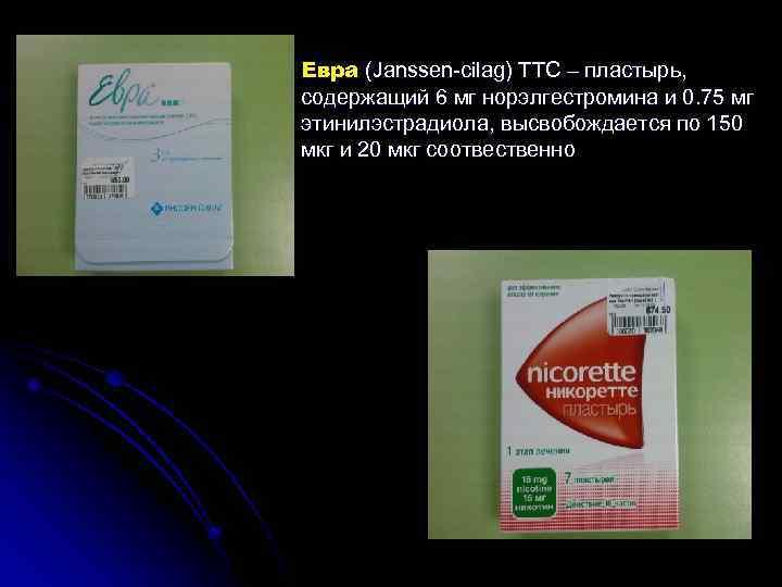 Евра (Janssen cilag) ТТС – пластырь, содержащий 6 мг норэлгестромина и 0. 75 мг