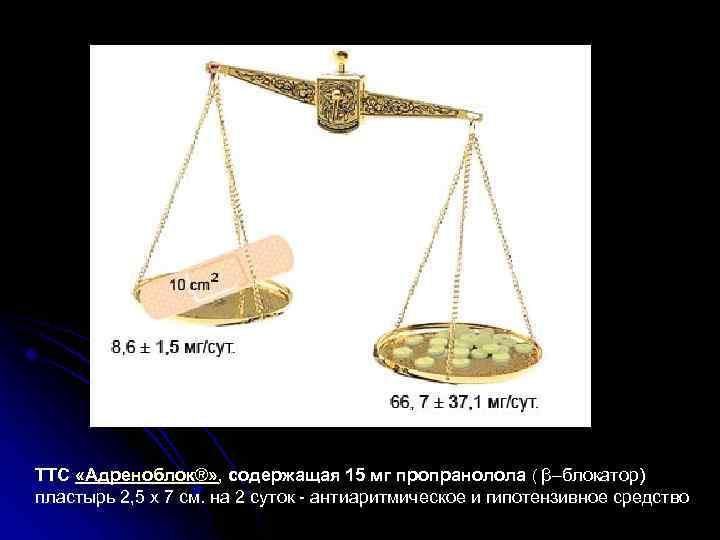 ТТС «Адреноблок®» , содержащая 15 мг пропранолола ( β–блокатор) пластырь 2, 5 х 7