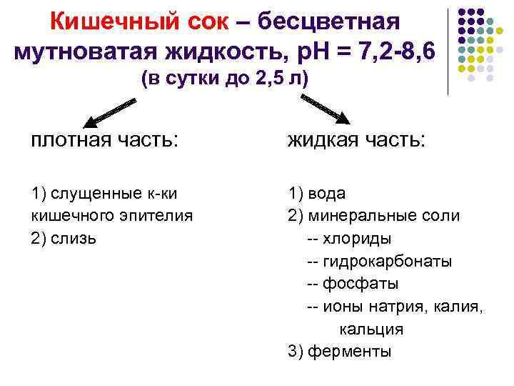 Кишечный сок – бесцветная мутноватая жидкость, р. Н = 7, 2 -8, 6