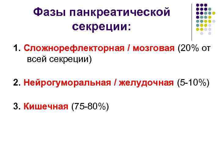Фазы панкреатической   секреции: 1. Сложнорефлекторная / мозговая (20% от всей