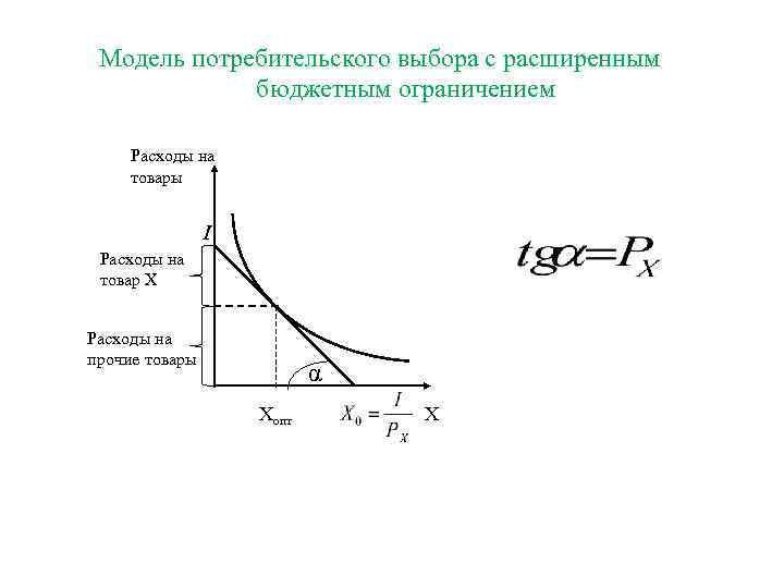 Модель потребительского выбора с расширенным   бюджетным ограничением  Расходы на товары