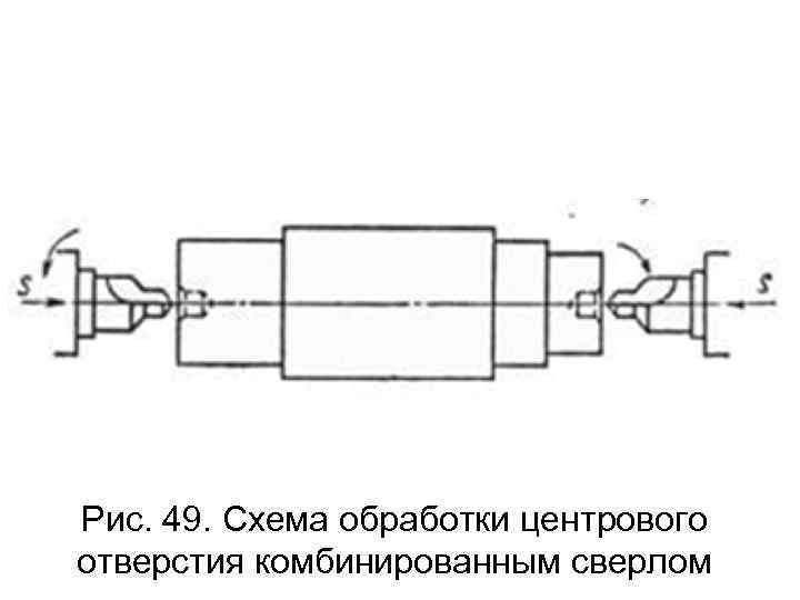 Рис. 49. Схема обработки центрового отверстия комбинированным сверлом
