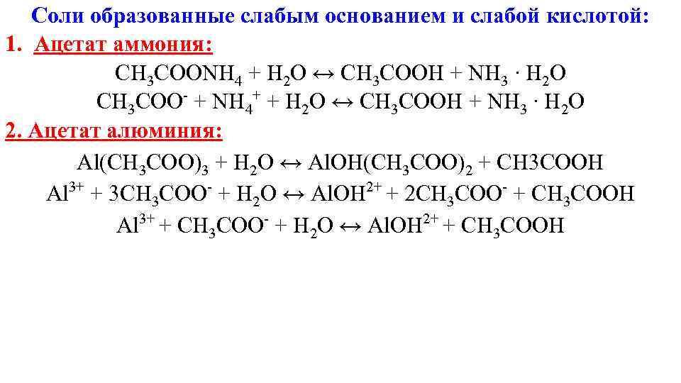 Соли образованные слабым основанием и слабой кислотой: 1. Ацетат аммония: