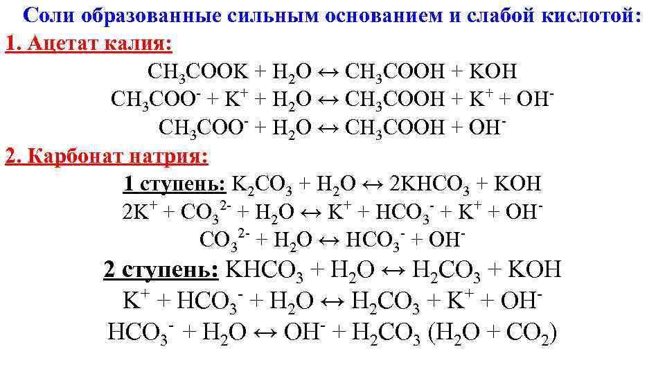 Соли образованные сильным основанием и слабой кислотой: 1. Ацетат калия:   CH