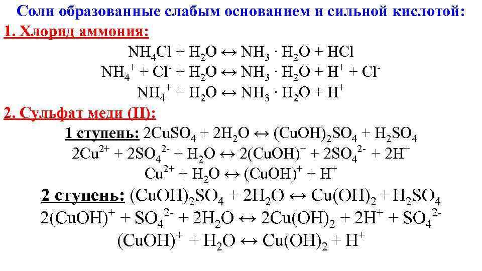 Соли образованные слабым основанием и сильной кислотой: 1. Хлорид аммония:
