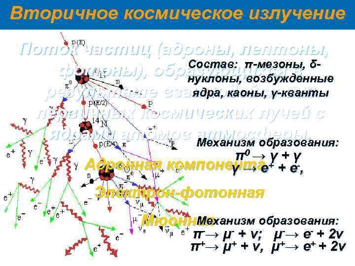Вторичное космическое излучение Поток частиц (адроны, лептоны,   Состав: π-мезоны, δ-  фотоны),