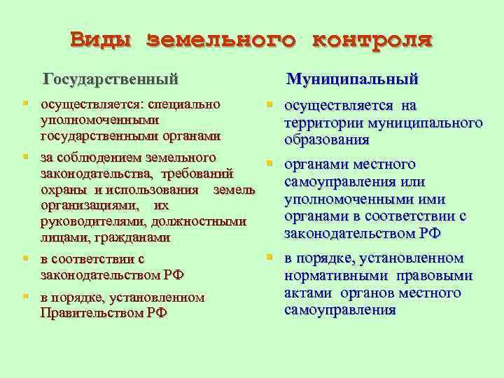 государственный земельный надзор и муниципальный контроль