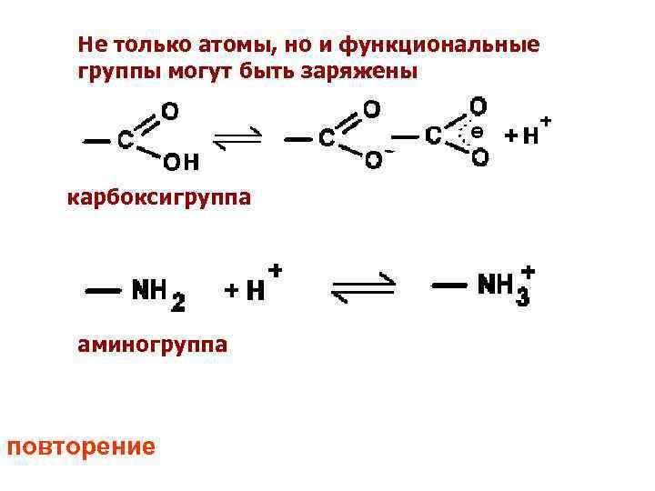 Не только атомы, но и функциональные группы могут быть заряжены