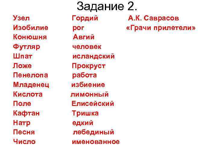 Задание 2. Узел  Гордий  А. К. Саврасов Изобилие  рог