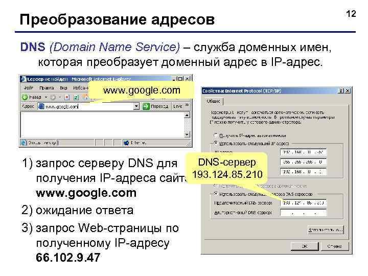 12 Преобразование адресов DNS (Domain Name Service) – служба