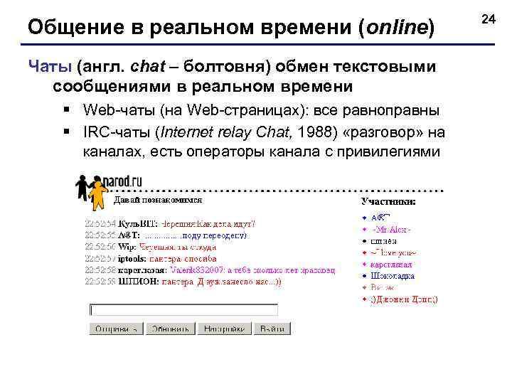 24 Общение в реальном времени (online) Чаты (англ.