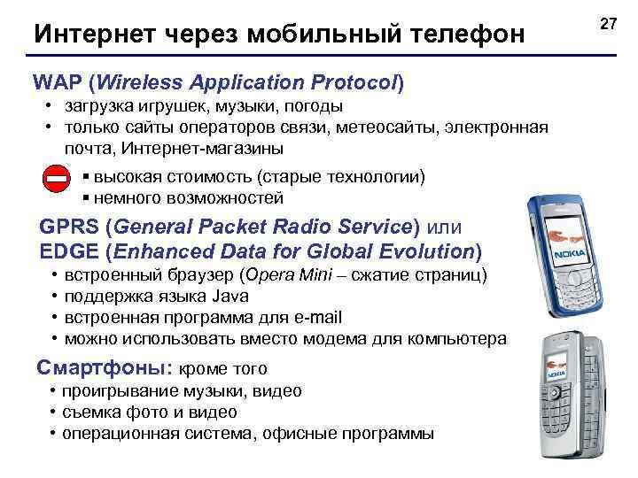 27 Интернет через мобильный телефон WAP (Wireless Application Protocol)