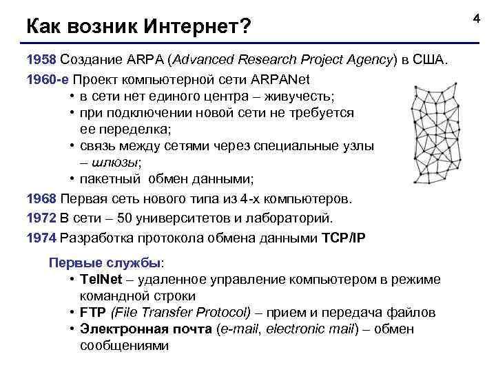 4 Как возник Интернет? 1958 Создание ARPA (Advanced