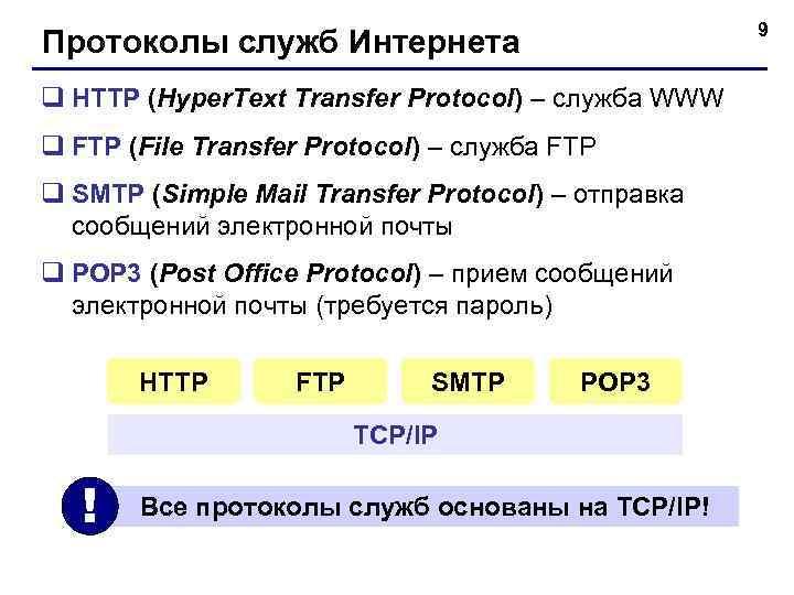 9 Протоколы служб Интернета q HTTP (Hyper. Text Transfer