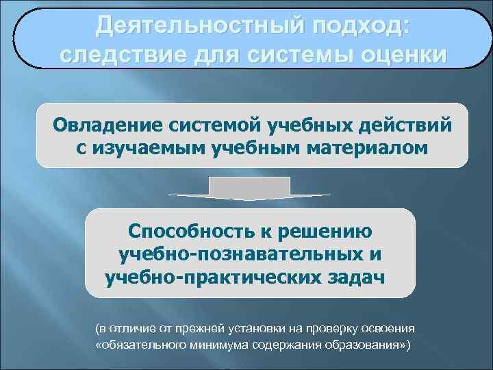 Деятельностный подход: следствие для системы оценки Овладение системой учебных действий  с