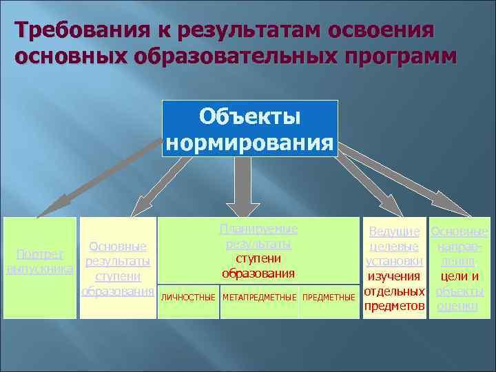 Требования к результатам освоения основных образовательных программ     Объекты