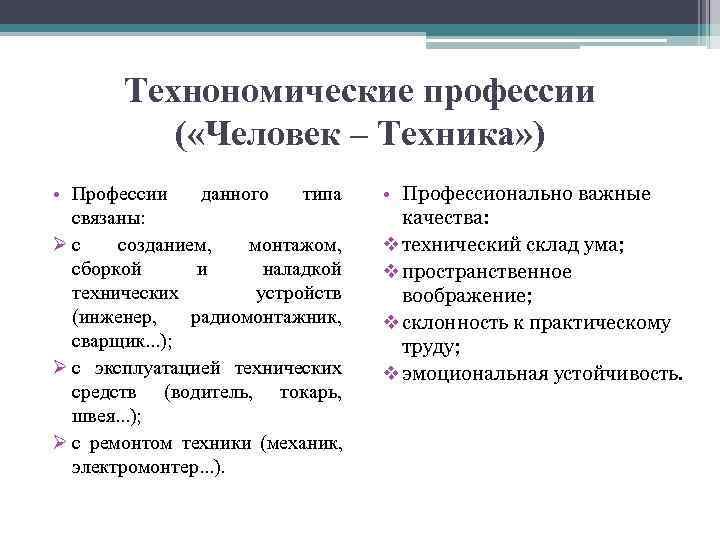 Технономические профессии  ( «Человек – Техника» ) • Профессии данного типа