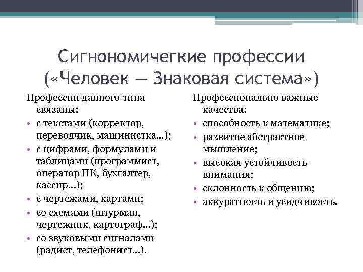 Сигнономичегкие профессии  ( «Человек — Знаковая система» ) Профессии данного типа