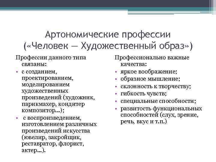 Артономические профессии  ( «Человек — Художественный образ» ) Профессии данного типа