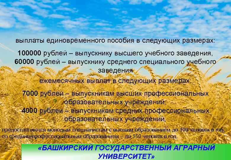 выплаты единовременного пособия в следующих размерах:  100000 рублей – выпускнику высшего