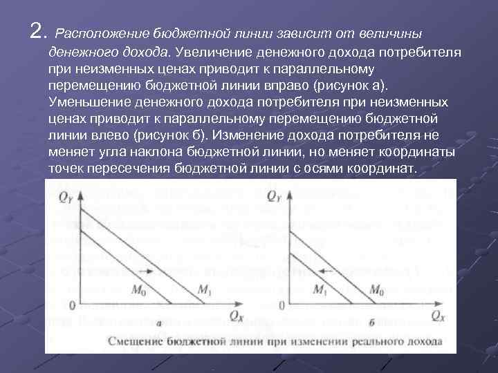 2. Расположение бюджетной линии зависит от величины  денежного дохода. Увеличение денежного дохода потребителя