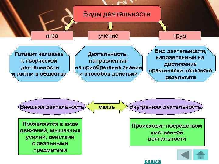Виды деятельности   игра   учение