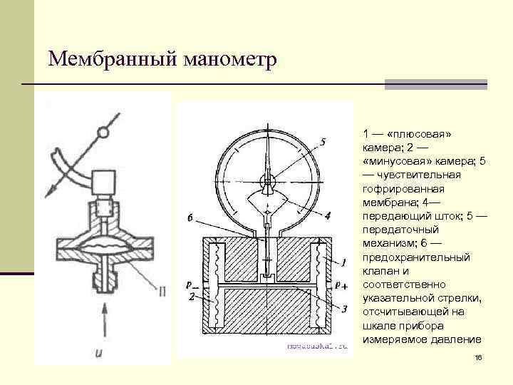 Мембранный манометр     1 — «плюсовая»     камера;