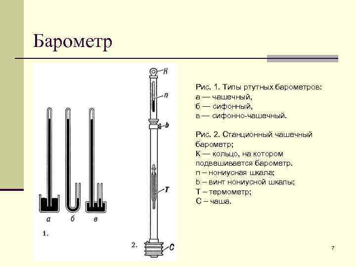Барометр   Рис. 1. Типы ртутных барометров:   а — чашечный,