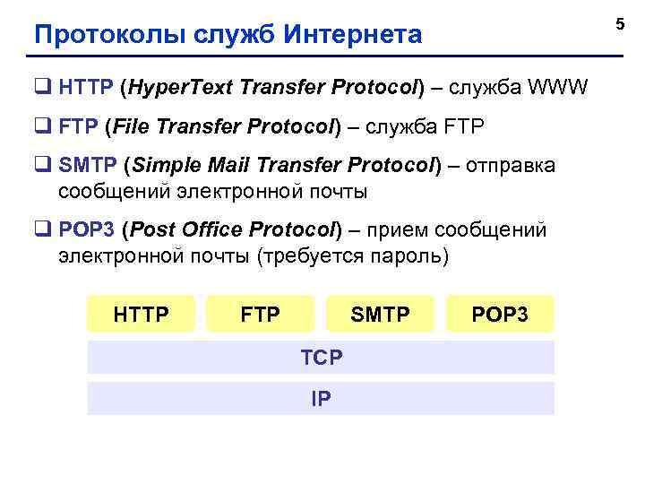 5 Протоколы служб Интернета q HTTP (Hyper. Text Transfer