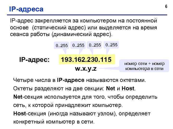 6 IP-адреса IP-адрес закрепляется за компьютером на