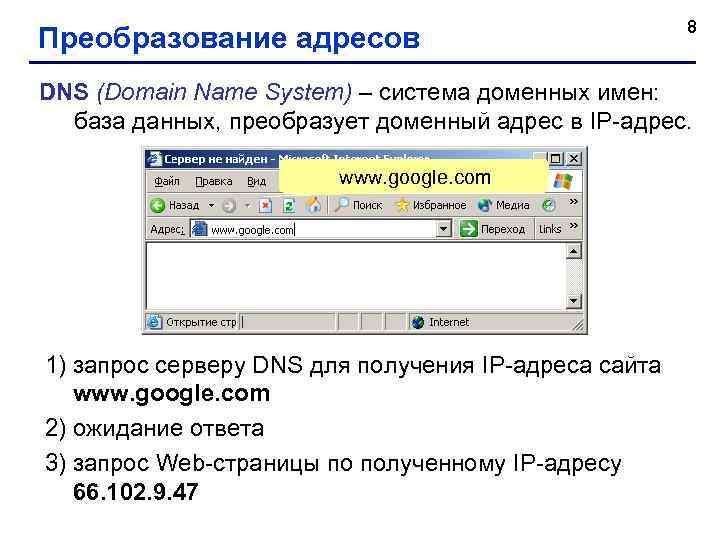8 Преобразование адресов DNS (Domain Name System) – система