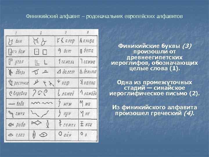 Финикийский алфавит – родоначальник европейских алфавитов       Финикийские буквы
