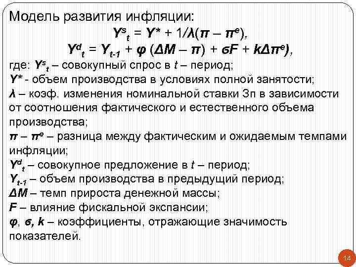 Модель развития инфляции:   Yst = Y* + 1/λ(π – πe),