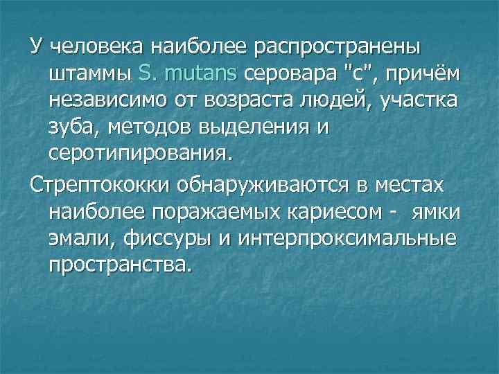 У человека наиболее распространены  штаммы S. mutans серовара
