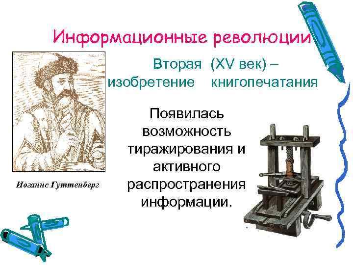 Информационные революции      Вторая (XV век) –