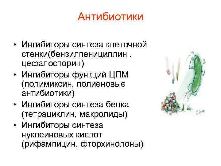 Антибиотики  • Ингибиторы синтеза клеточной  стенки(бензилпенициллин.  цефалоспорин) •
