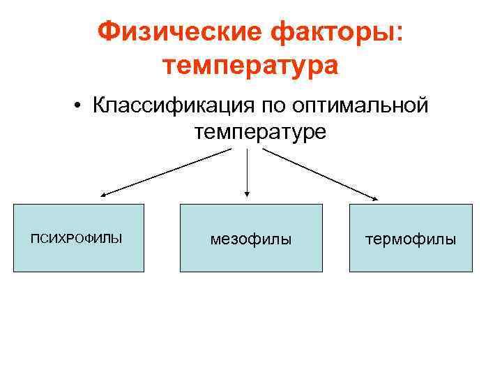 Физические факторы:   температура • Классификация по оптимальной