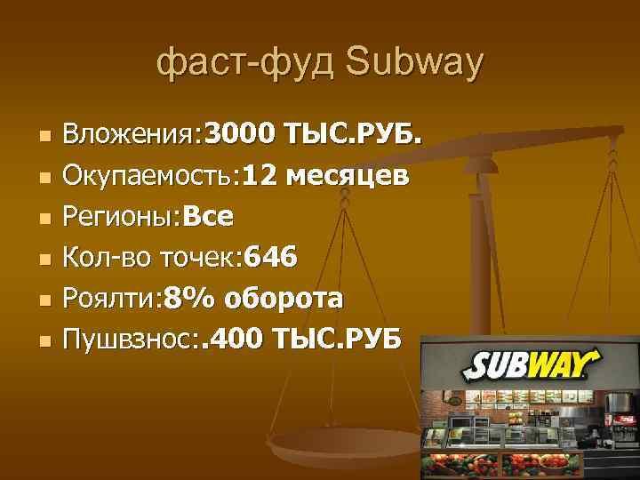 фаст-фуд Subway n  Вложения: 3000 ТЫС. РУБ. n  Окупаемость: