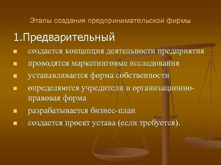 Этапы создания предпринимательской фирмы 1. Предварительный n  создается концепция деятельности предприятия