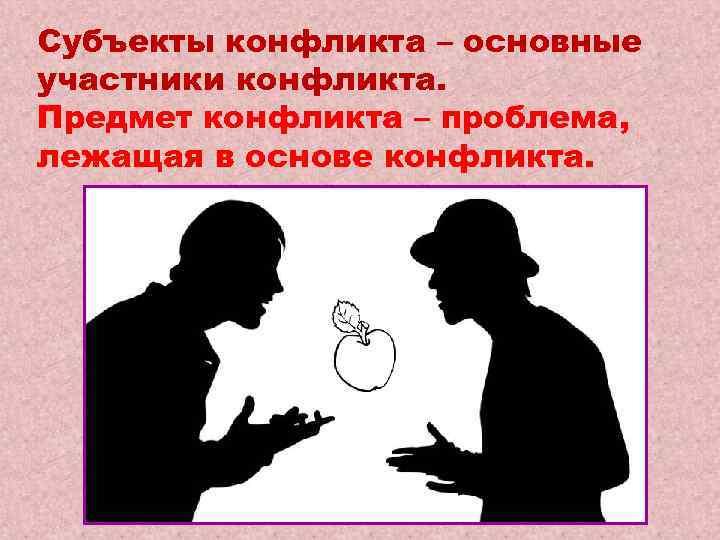 Субъекты конфликта – основные участники конфликта. Предмет конфликта – проблема, лежащая в основе конфликта.